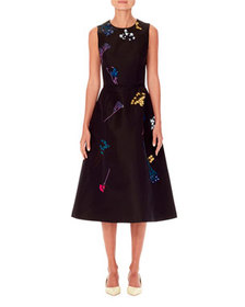 Carolina Herrera Sleeveless Floral-Embroidered A-L