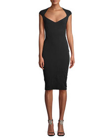 Thierry Mugler Wide-Neck Cap-Sleeve Fitted Stretch