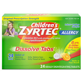 Zyrtec 24 Hour Allergy Dissolve Tablets, Citrus Fl