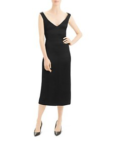 Theory - Paneled Crepe Midi Dress