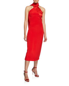 CUSHNIE Satin Scarf-Neck Midi Dress