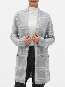 Factory Plaid Open-Front Cardigan