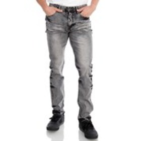 ENCRYPTED Mens Skinny Fit Grey Wash Jeans