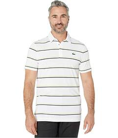 Lacoste Short Sleeve Performance Striped Golf Polo