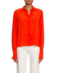 Chloe Crepe de Chine Button-Front Blouse
