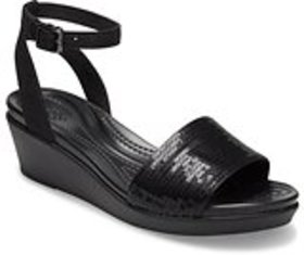 Women's Crocs LeighAnn Ankle-Strap Sequin Wedge