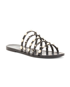 NINE WEST Strappy Studded Flat Sandals