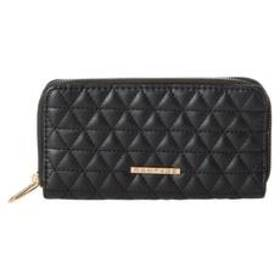 Womens Rampage Quilted Double Zip Around Wallet
