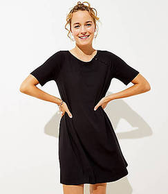 Petite Covered Button Swing Dress