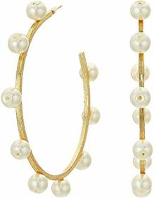 Kenneth Jay Lane Gold with Pearls C Hoop Pierced E