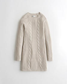Hollister Cable Swing Sweater Dress, CREAM