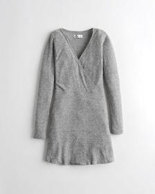 Hollister Wrap-Front Ribbed Knit Dress, GREY