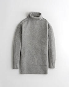 Hollister Slouchy Turtleneck Sweater Dress, GREY