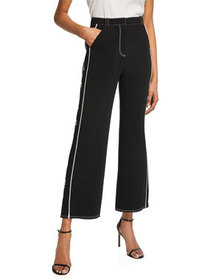 cinq a sept Embroidered Tatum Wide-Leg Pants