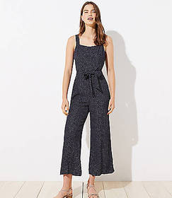 Tall Dotted Tie Waist Jumpsuit