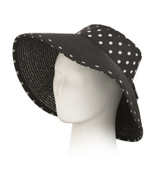 RAMPAGE Roll Up Straw Polka Dot Visor