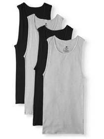 Big Men's ComfortSoft Black and Grey Tagless Tanks