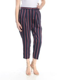 RALPH LAUREN Womens Navy Striped Cropped Pants Pet