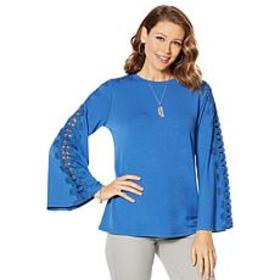 DG2 by Diane Gilman Bell-Sleeve Top with Crochet L