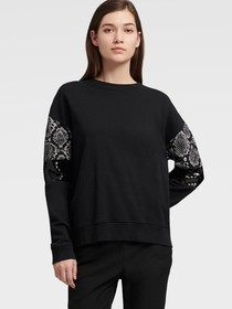 Donna Karan SWEATER WITH FAUX SNAKE PANEL
