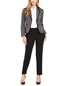 Petite Two-Button Contrast-Trim Pantsuit