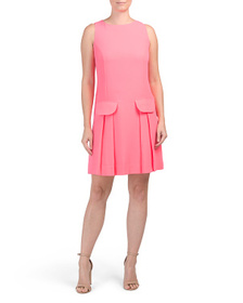 SAIL TO SABLE Sleeveless Shift Dress With Faux Poc