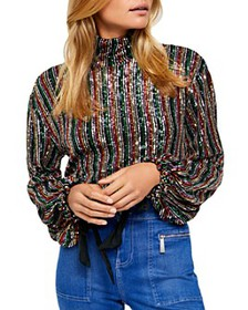 Free People - Midnight City Rainbow Sequined Top