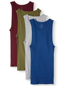 Men's ComfortSoft Assorted Colors Tagless Tanks, 4