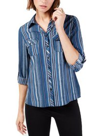 NY Collection Womens Petites Striped Utility Butto