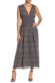 Max Studio V-Neck Sleeveless Midi Dress