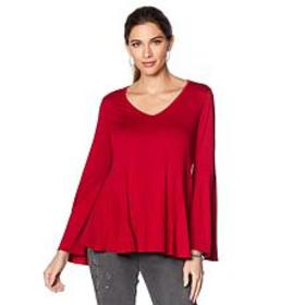 """As Is"" DG2 by Diane Gilman Bell-Sleeve Top with G"