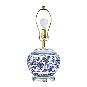 Blue & White Single Round Chinoiserie Table Lamp B