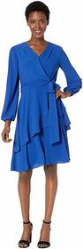 Tahari by ASL Long Sleeve Tiered Chiffon Dress wit