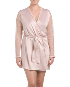 FLORA NIKROOZ Charmeuse Chemise With Lace And Robe