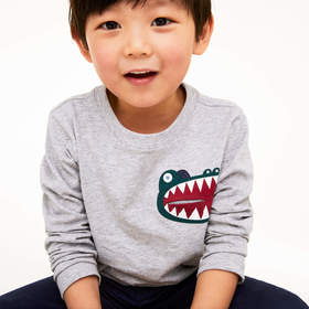 Lacoste Boys' Crocodile Print Pocket Cotton T-shir