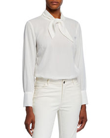 Neiman Marcus Long-Sleeve Tie-Neck Blouse