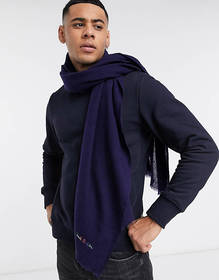 Paul Smith embroidered logo wool scarf in blue
