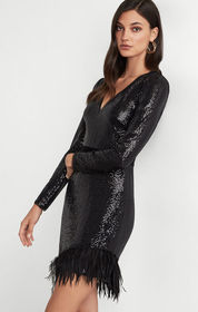 BCBG Sequin and Feather Dress