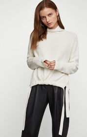 BCBG Ribbed Side-Tie Sweater