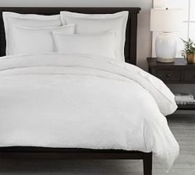 Pottery Barn Textured Jacquard Cotton Duvet Cover