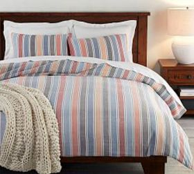Pottery Barn Silas Stripe Cotton Duvet Cover & Sha