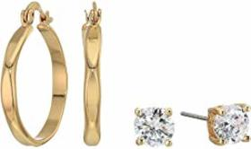 GUESS Small CZ Stud and Hoop Earrings Set