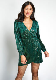 Party Perfect Sequin Mini Dress Emerald Green