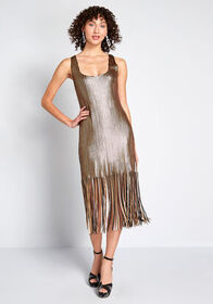 BB Dakota BB Dakota Fringe Binge Sequin Midi Dress