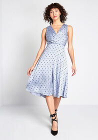 Satin-day Night Midi Dress Blue Polka Dots