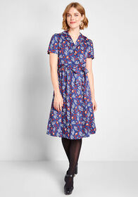 ModCloth Tied and Timeless Wrap Dress Navy Bird Pr