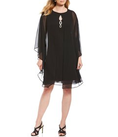 Ignite Evenings Beaded Capelet Dress