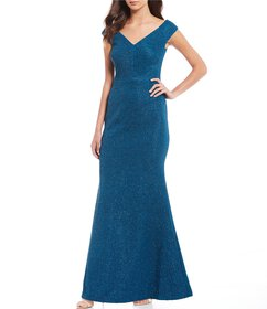 Eliza J Off-the-Shoulder Glitter Knit Mermaid Gown