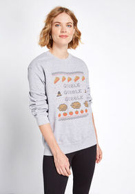 Gobble Gobble Graphic Sweatshirt Heather Grey