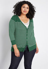 ModCloth Charter School Striped Cardigan Green Str